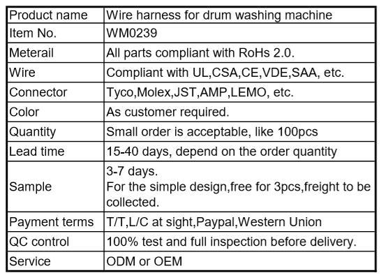 Wire Harness For Drum Washing Machine